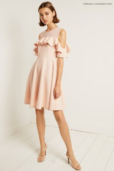 French Connection Pink Alissia Flare Cold Shoulder Dress