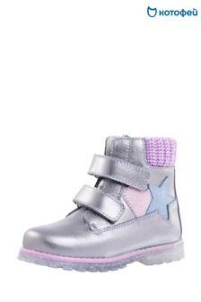 Серые кожаные ботинки с блестящим каблуком Kotofey