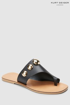 Kurt Geiger Black Leather Deena Sandal