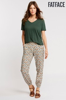 FatFace Natural Lounging Leopard Cuffed Trouser