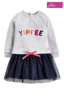 Joules Grey Marl Yippee Layered Dress