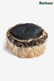 Barbour® Navy Wax Faux Fur Trim Hat