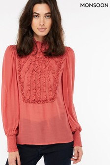 Monsoon Pink Elizabeth Ruffle High Neck Blouse