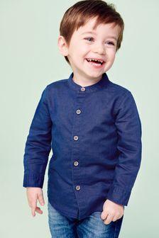 Рубашка из льняной смеси без воротника (3 мес.-7 лет)