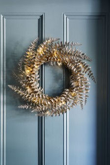 Lit Faux Fern Wreath