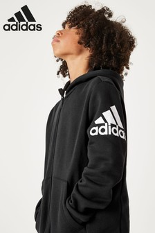 adidas Black Arm Logo Zip Through Hoody