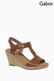 Gabor Karen Peanut Leather Wedge Sandals