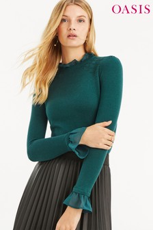 Oasis Green Woven Cuff Blouse