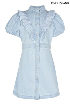 River Island Bubble Sleeve Denim Shirt Dress