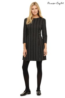 Phase Eight Black Callinda Checked Button Waist Dress