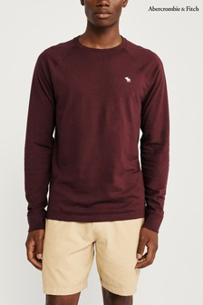 Abercrombie & Fitch Burgundy Long Sleeve Core T-Shirt