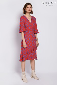 Ghost London Red Erin Printed Crepe Dress