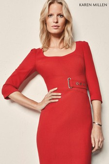 Karen Millen Red Interlaced Corset Dress