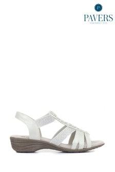 Pavers White-Silver Ladies Embellished Slingback Sandals