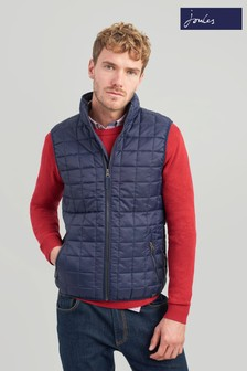 Joules Blue Ridgeway Lightweight Square Quilted Gilet