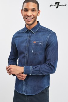 7 For All Mankind® Dark Blue Denim Shirt