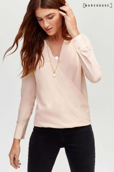 Warehouse Pink Dobby Wrap Front Top