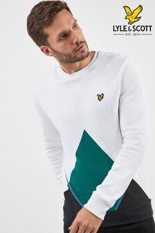 Lyle & Scott T-Shirt im abstrakten Argyle-Muster, weiß
