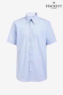 Hackett Blue Large Check Short Sleeve Shirt
