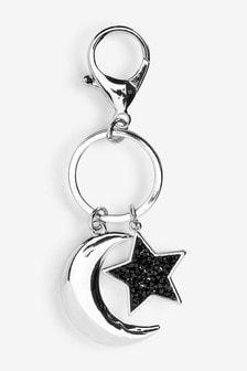 Silver Tone Star And Moon Motif Keyring