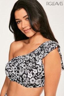 Figleaves Black Florence One Shoulder Frill Bikini Top