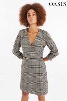 Oasis Black Check Wrap Shift Dress