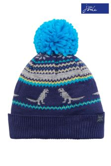 Joules Navy Dino Fairisle Pattern Knitted Hat