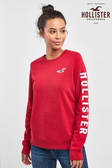 Hollister Red Logo Crew Neck Sweater