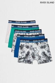 River Island Blue Mono Tie Dye Boxers