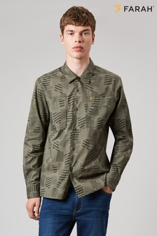 Farah Green Alan Casual Print Shirt