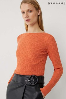 Warehouse Orange Stitched Scallop Trim Jumper