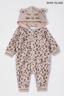 River Island Beige Leopard Print All In One