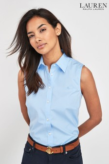 Lauren Ralph Lauren Blue Sleeveless Stretch Shirt