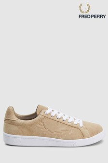Fred Perry Sand Embossed Suede Trainer