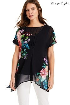 Phase Eight Blue Ellison Gypsy Floral Blouse