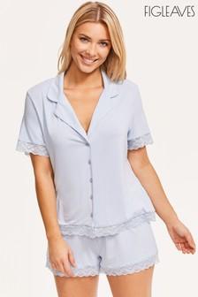 Figleaves Blue Camelia Lace Trim Pyjama Top And Short Set