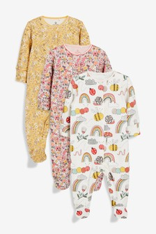 3 Pack Caterpillar/Floral Sleepsuits (0mths-2yrs)
