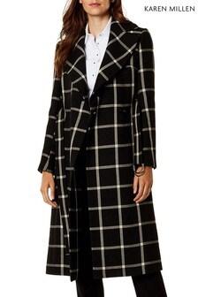 Karen Millen Black Bold Check Wrap Coat