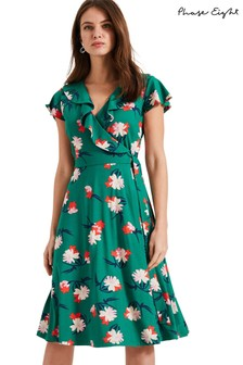 Phase Eight Green Irene Printed Wrap Dress