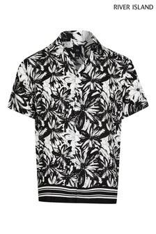 River Island Black Mono Floral Border Shirt