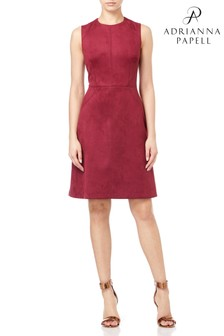 Adrianna Papell Red Scuba Suede Dress