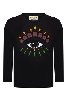 Boys Black Cotton Long Sleeve Eye T-Shirt