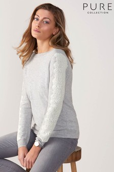 Pure Collection Grey Knitted Lace Detail Sweater