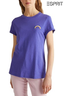 Esprit Purple T-Shirt With Small Rainbow Detail Front