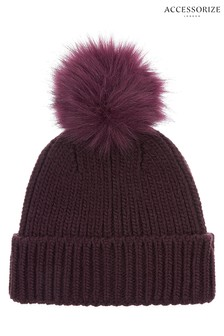 Accessorize Red Pom Beanie