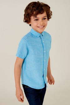 Short Sleeve Linen Blend Shirt (3-16yrs)