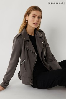 Warehouse Grey Faux Suede Biker Jacket