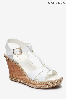 Carvela White Leather Karoline Wedge