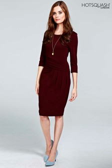 HotSquash Burgundy Pleat Waist Dress