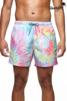 Boardies Mens Spiral Tie Dye Mid Length Swim Shorts
